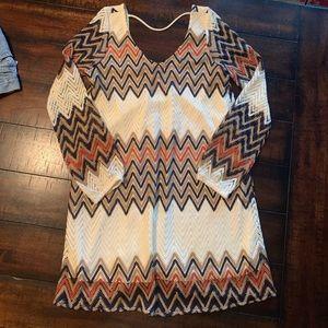 Full Tilt Chevron Long Sleeve Dress